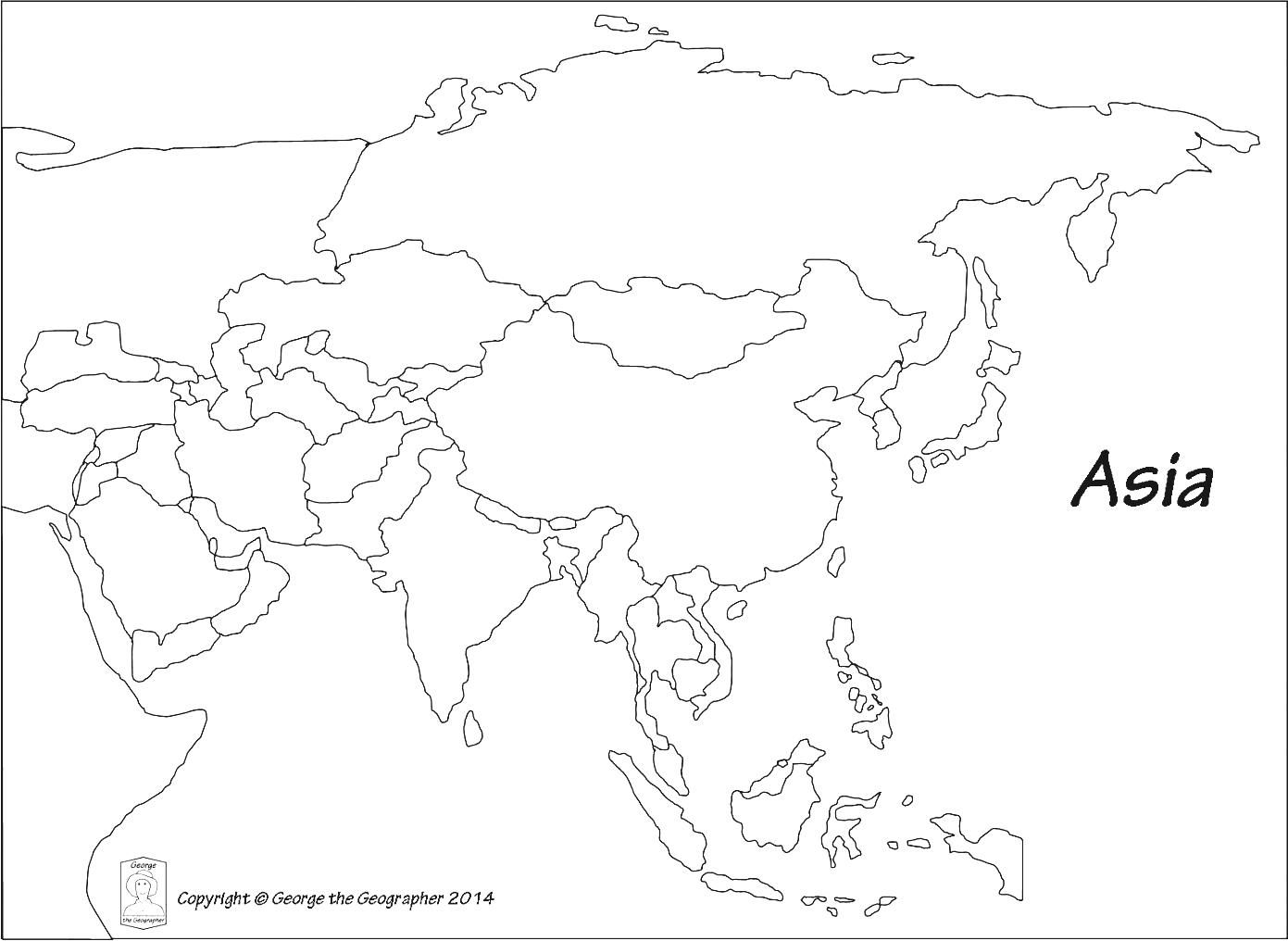 Asia Outline Map With Countries