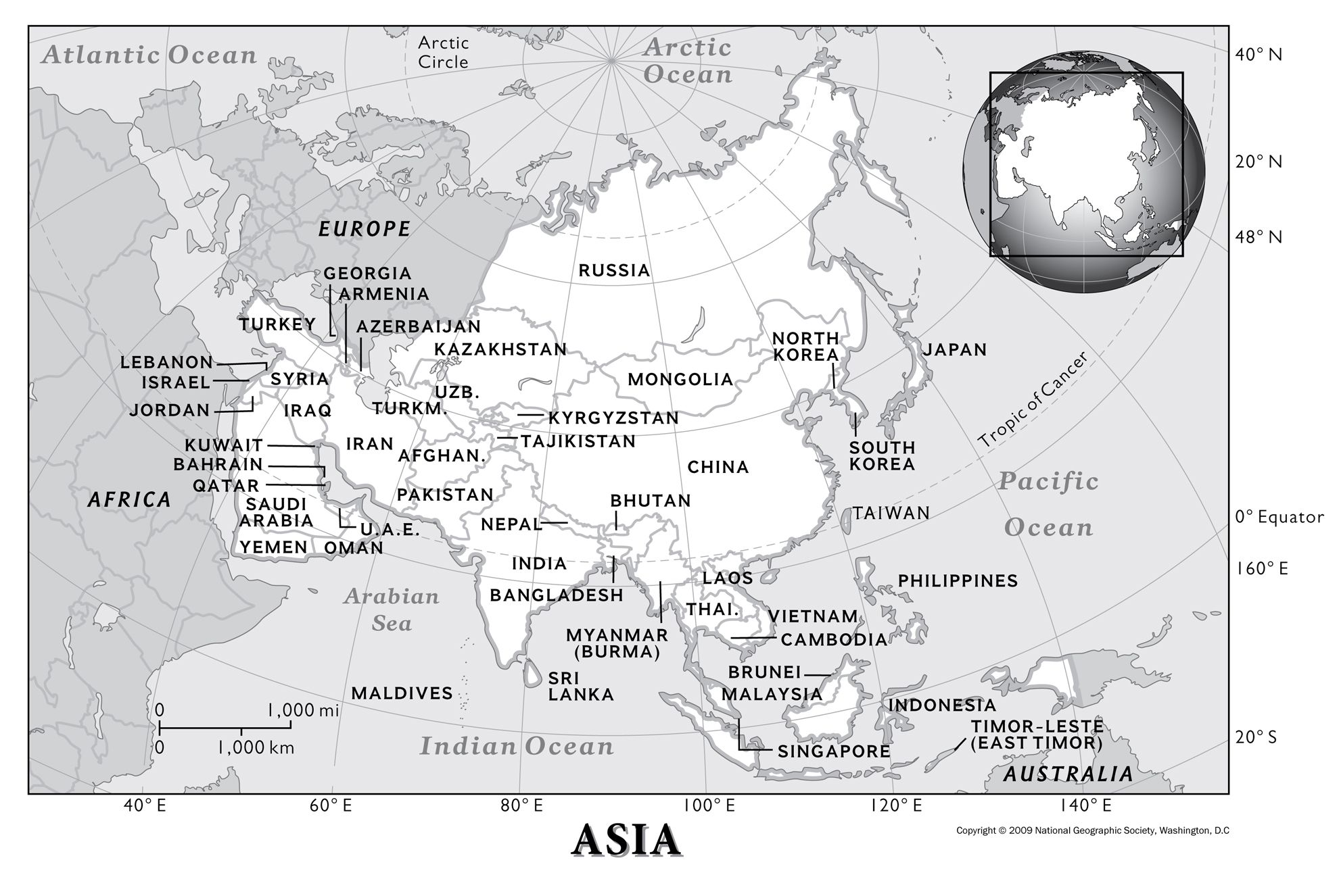 Map of Asia Continent with Countries