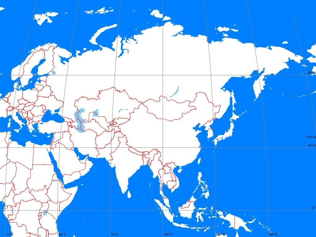 Outline Map of Asia Continent