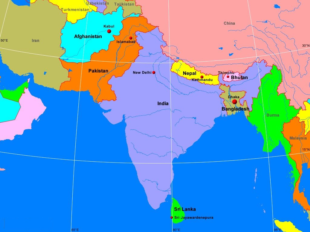 South Asia Map Countries