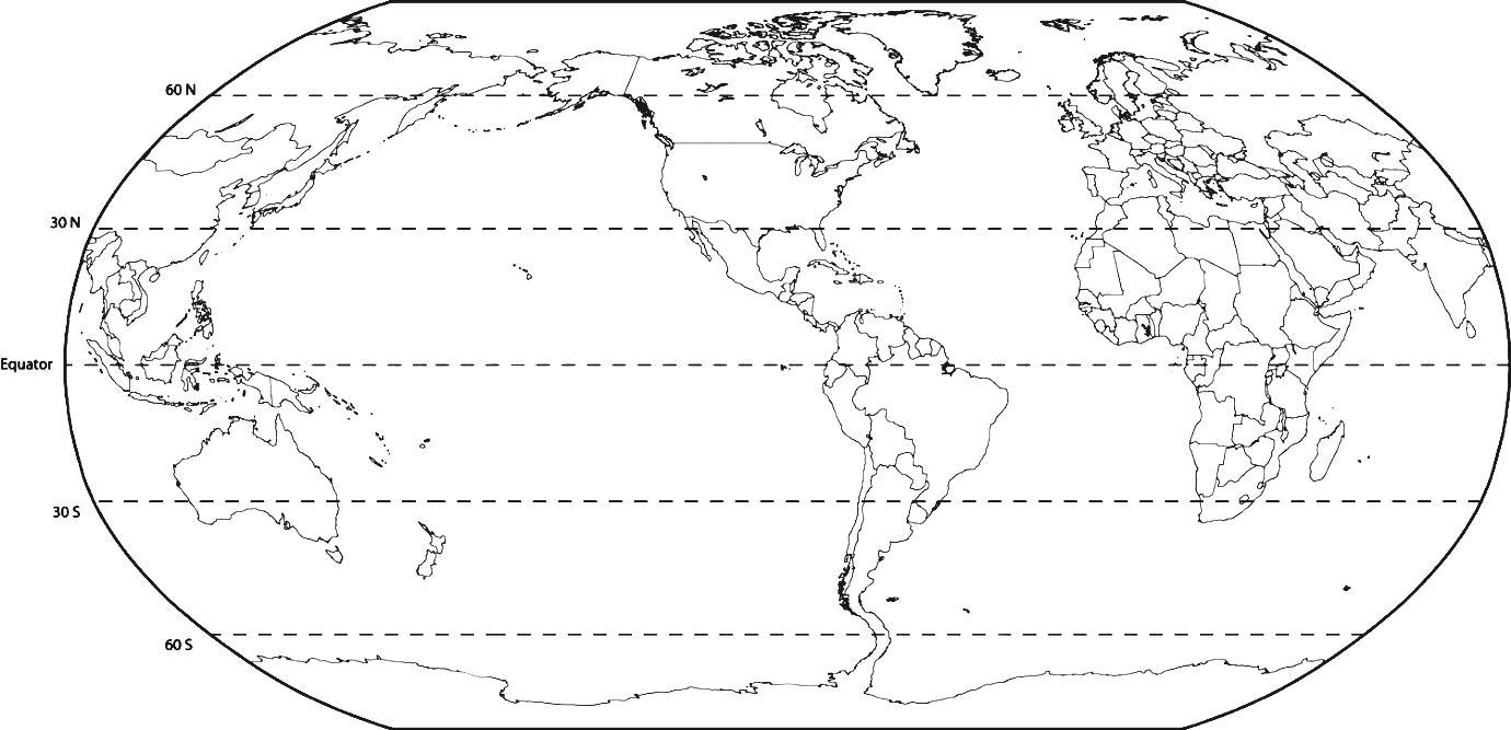 Blank Printable World Map with Latitude and Longitude,Printable World Map for Kids
