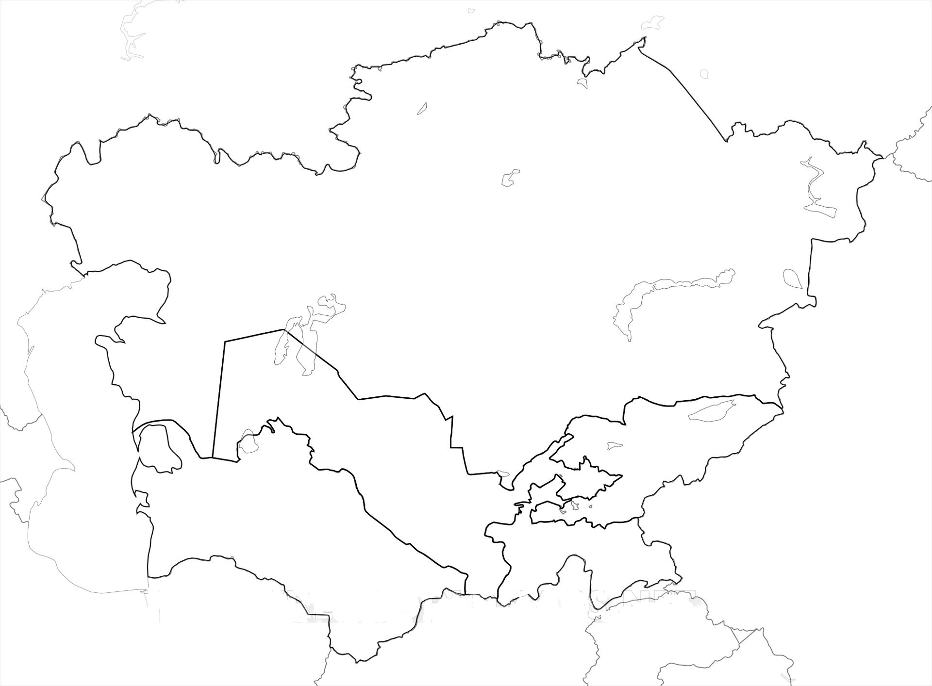 Central Asia Blank Map