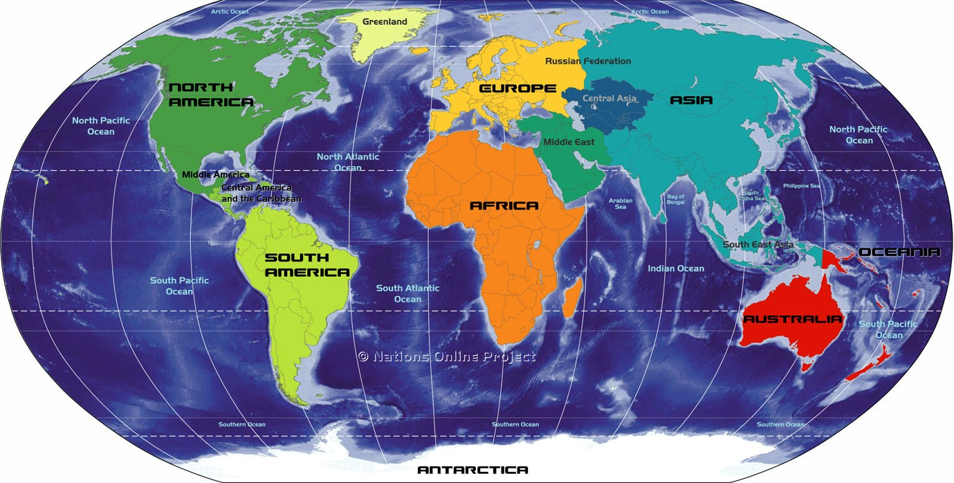 World Map With Continents And Countries,7 Continents Map