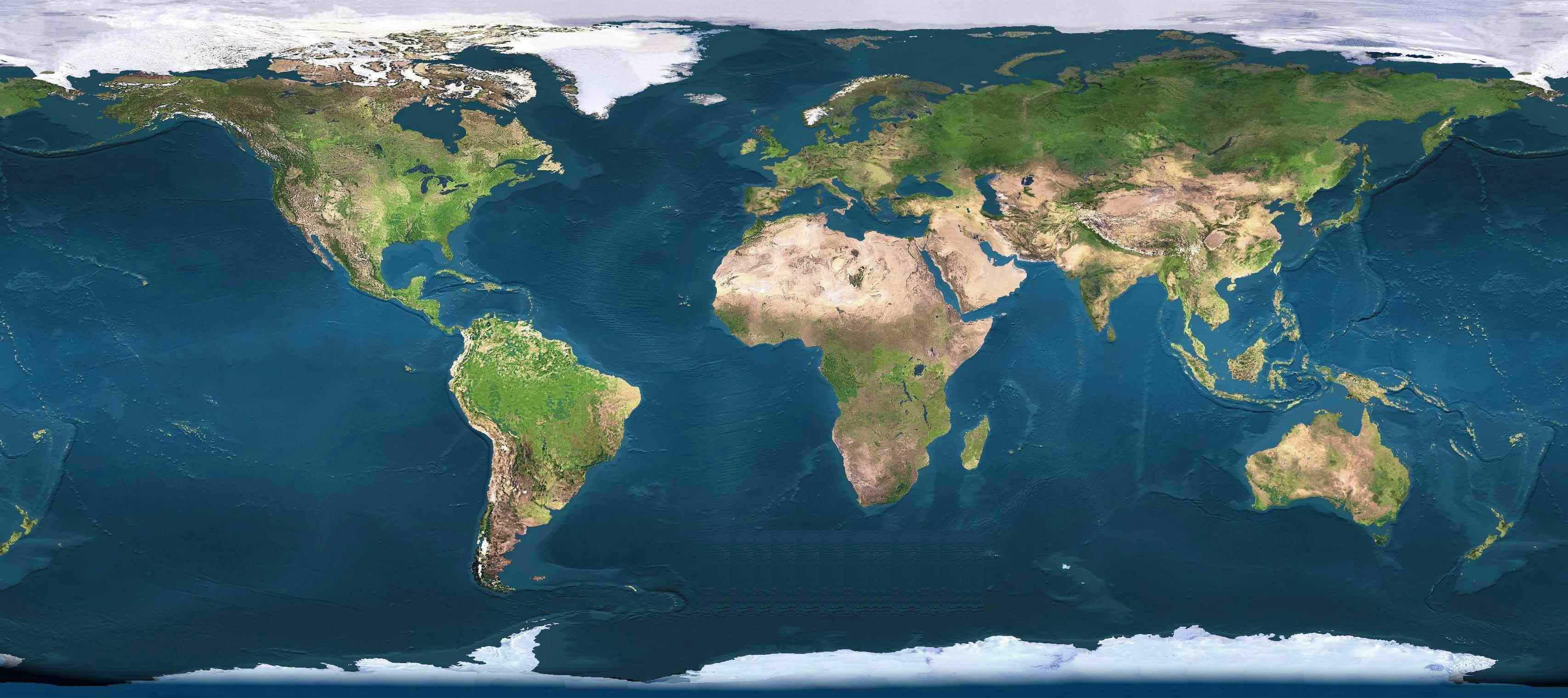 World Map Satellite View