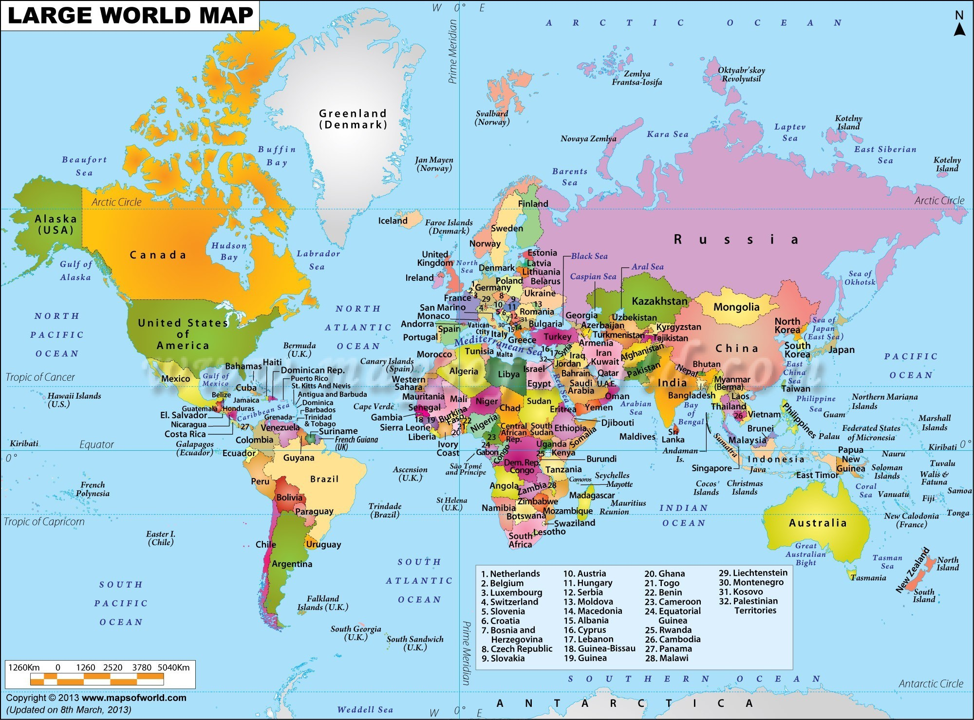 Countries of the World Map Quiz