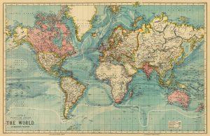 World Map Poster Vintage