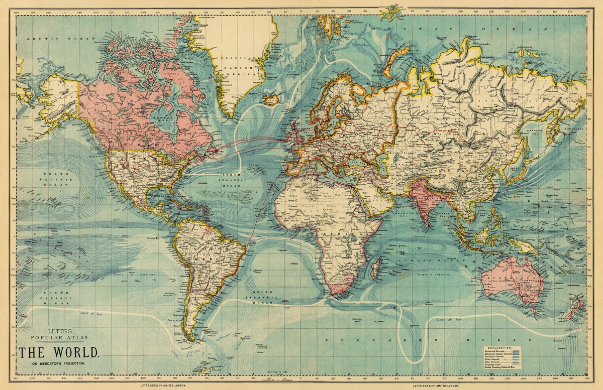 World Map Poster Vintage