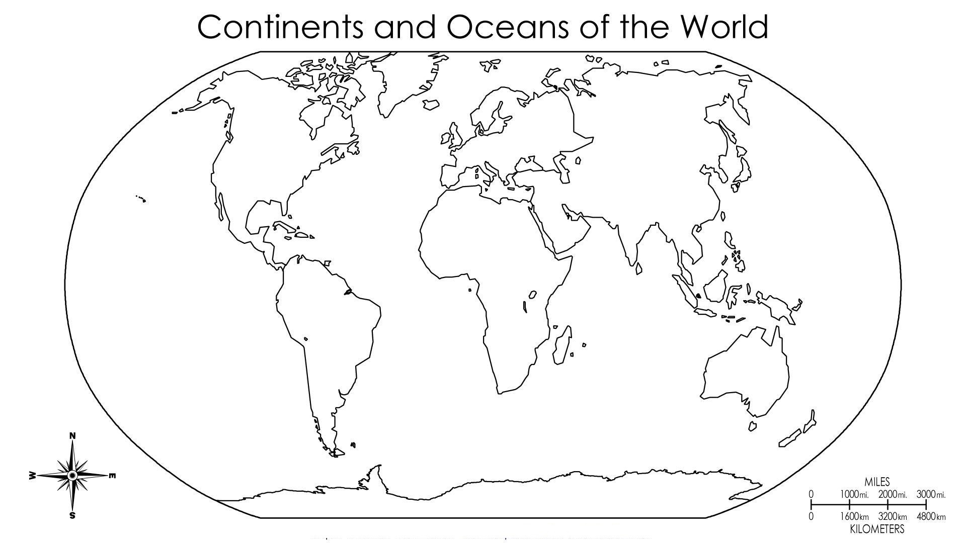 Blank Map Of World Continents,World Map With Black And White Outline
