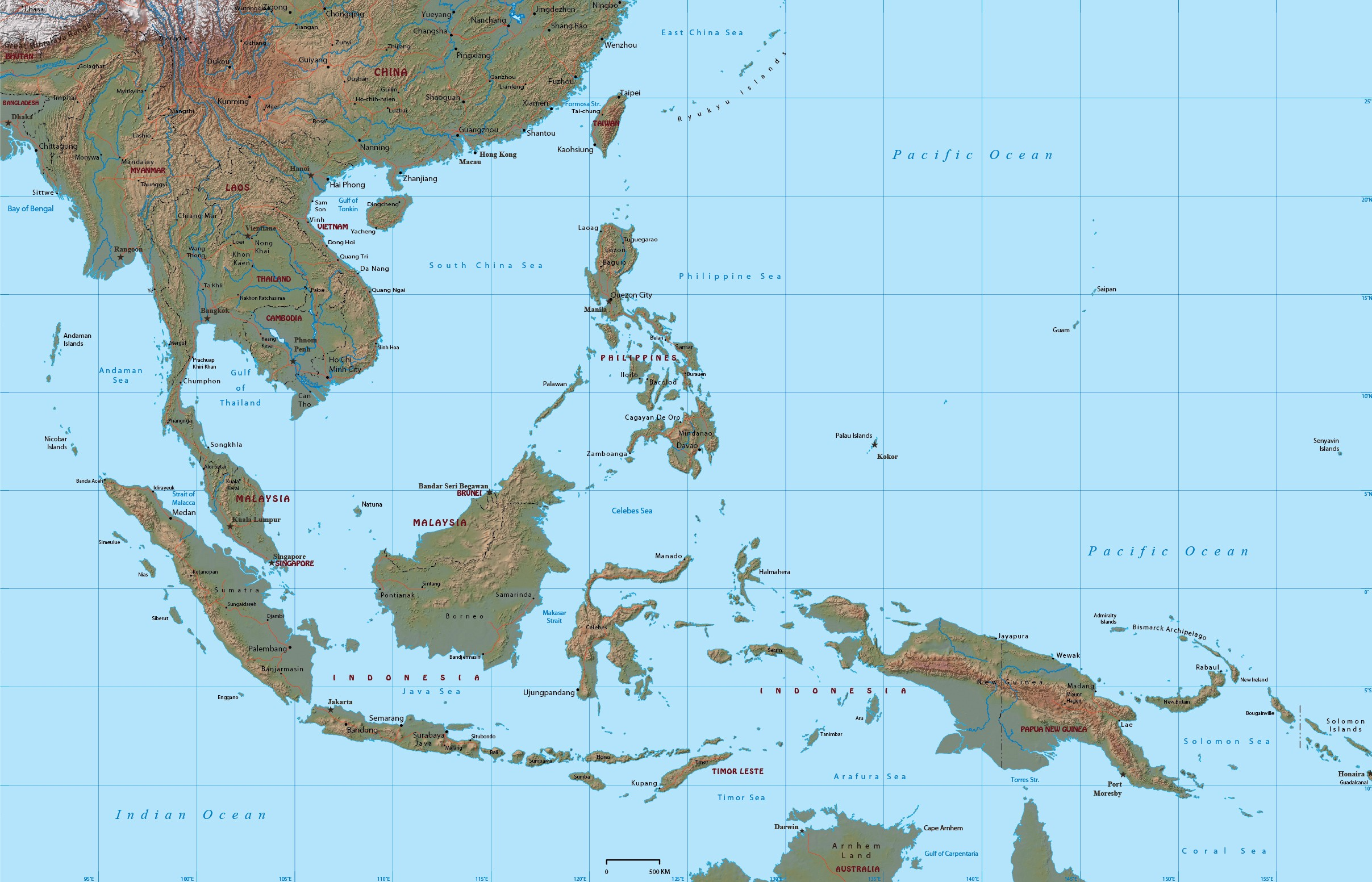 Southeast Asia Map Physical