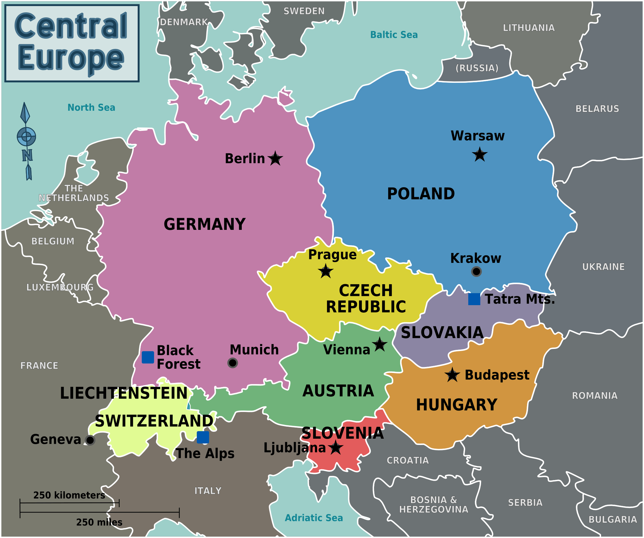 Map of Eastern Europe with Capitals