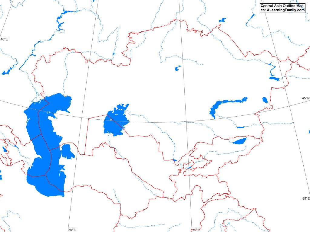 Central Asia Map Blank