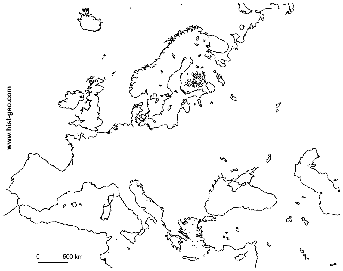 Outline Map of Europe Continent