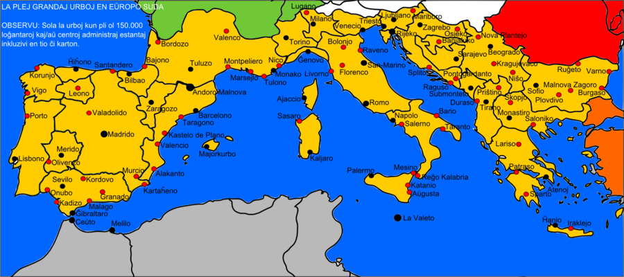 Map of Southern Europe with Cities