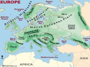 Map of Europe Physical Features