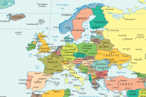 Map of Europe with Countries and Capitals