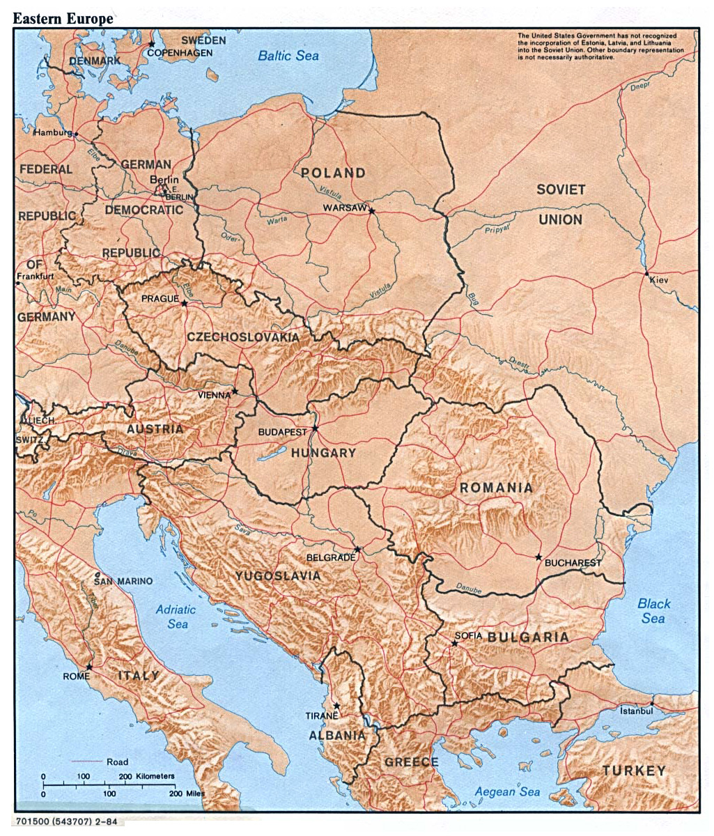 Map of Eastern Europe with Major Cities