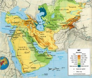 Southwest Asia Map Physical