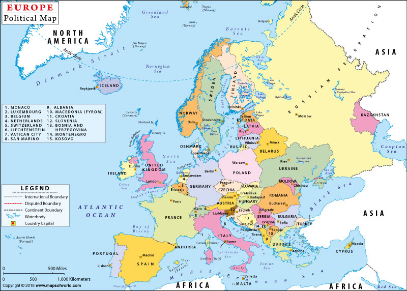 Map of Europe Continent with Countries