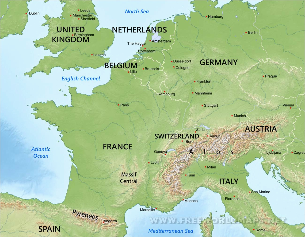 Physical Map of Europe Rivers
