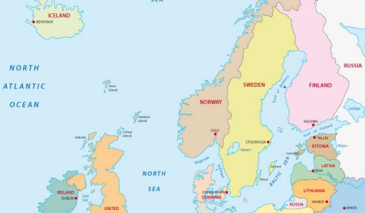 Map of Northern Europe Countries
