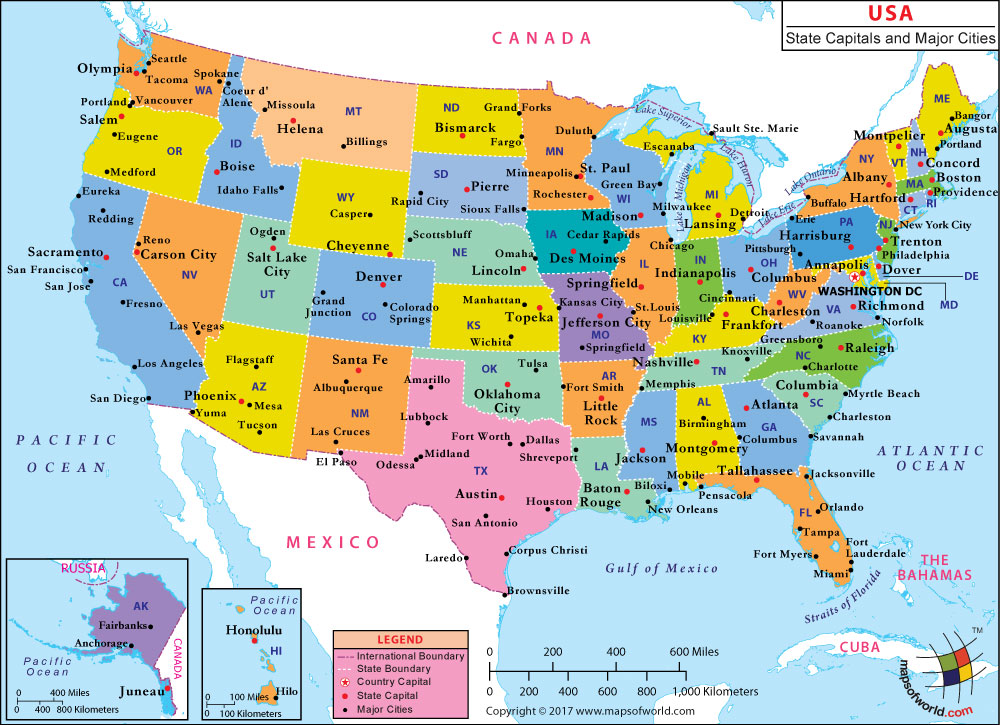 Map Of Us Including Cities usa major cities map | World Map With Countries