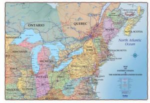 Map of Eastern USA and Canada