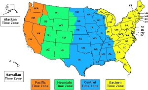 Map of USA Time Zones Printable