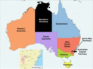 Map of Australia with States and Territories