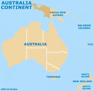 Map of Australia Continent