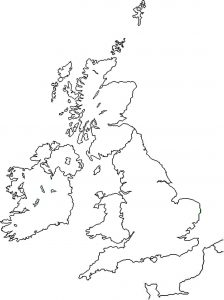 Blank Outline Map of UK