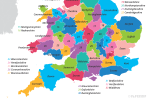 Printable Map of UK Counties