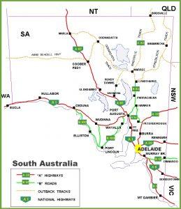 Road Map of South Australia