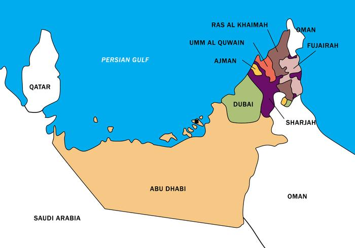 Blank Printable Map of UAE