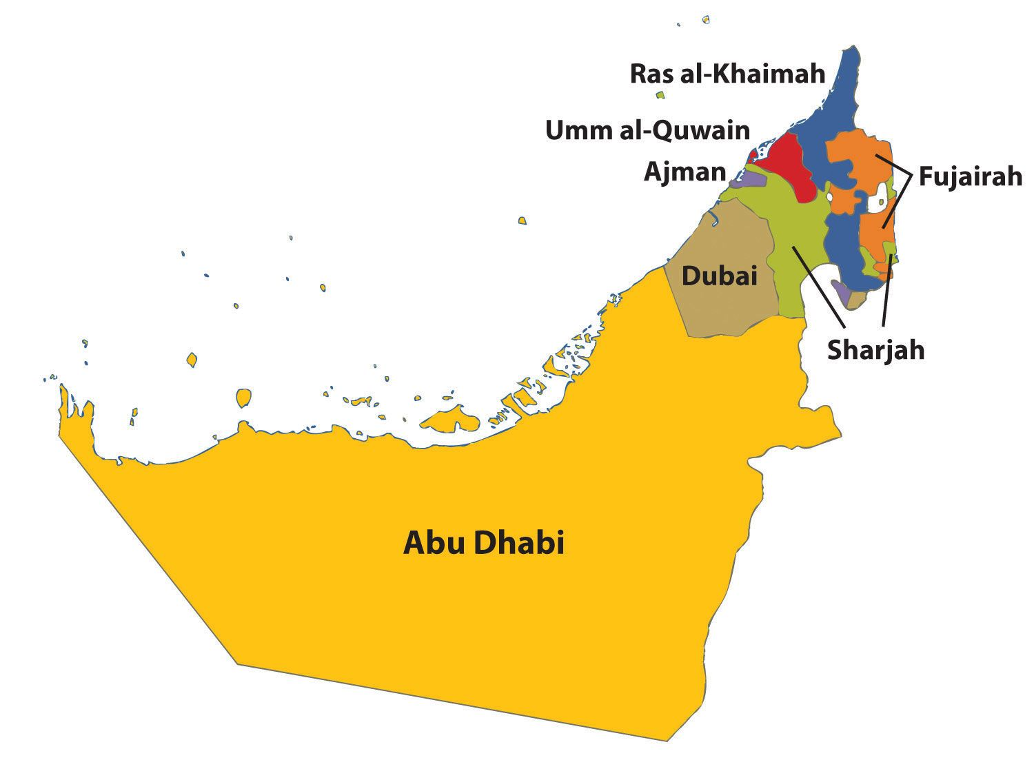 UAE Map With 7 Emirates
