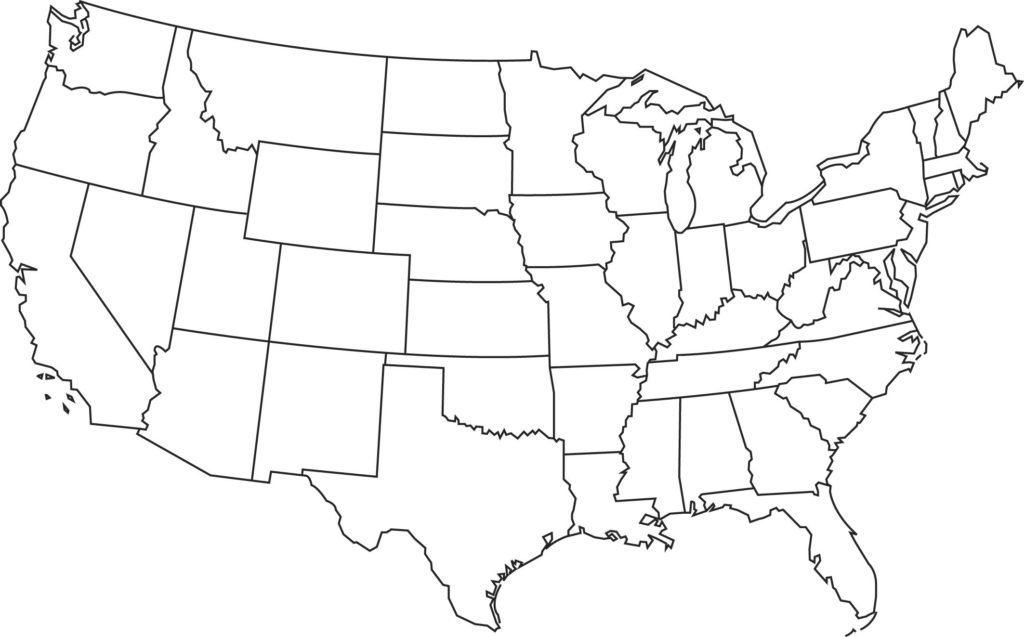 Blank Map of America
