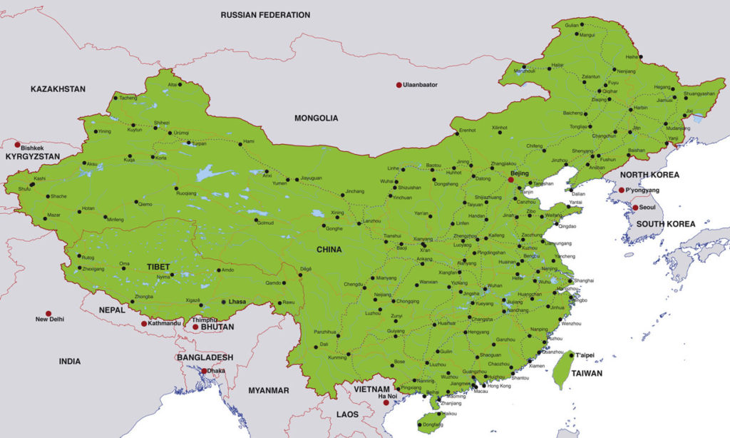 China Map with Cities Labeled