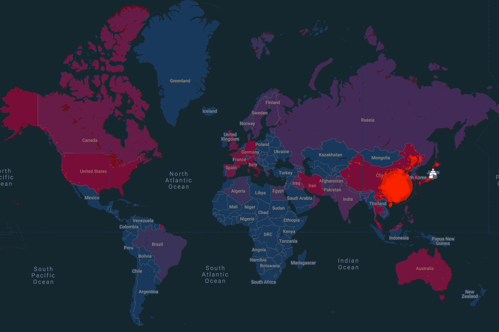 Coronavirus Map of World