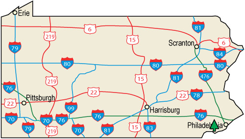 PA County Road Map