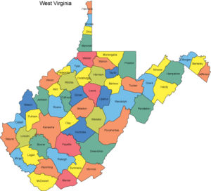 Map of West Virginia & Countries PDF