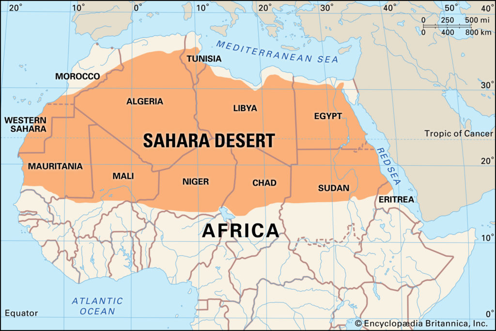 Map of Sahara Deserts