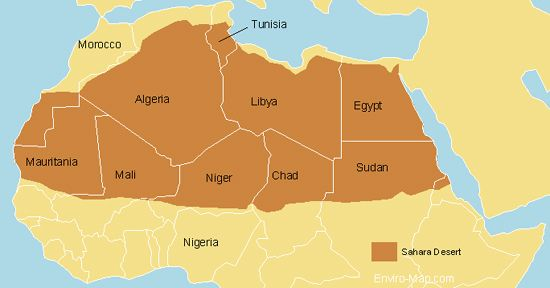 Map of Sahara Deserts With Countries