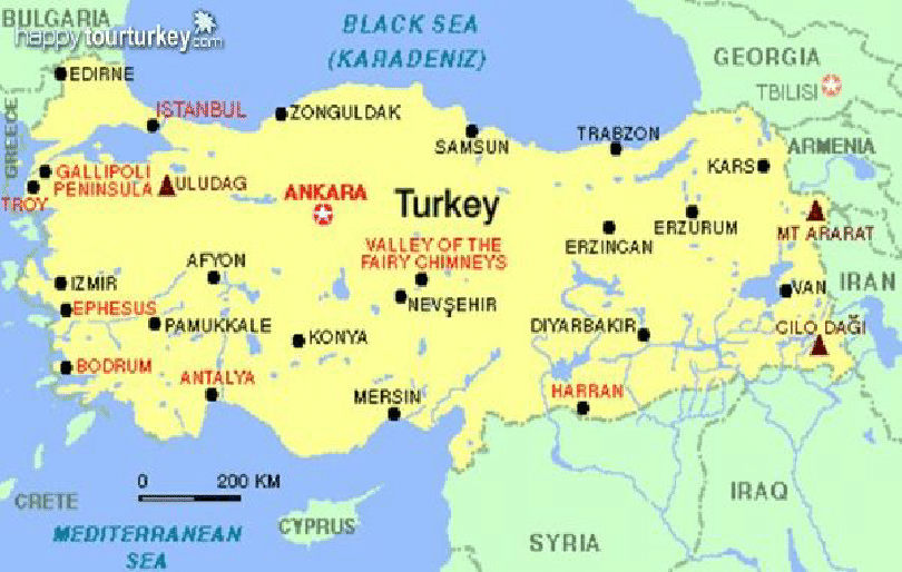 Map of Turkey and Surrounding Countries