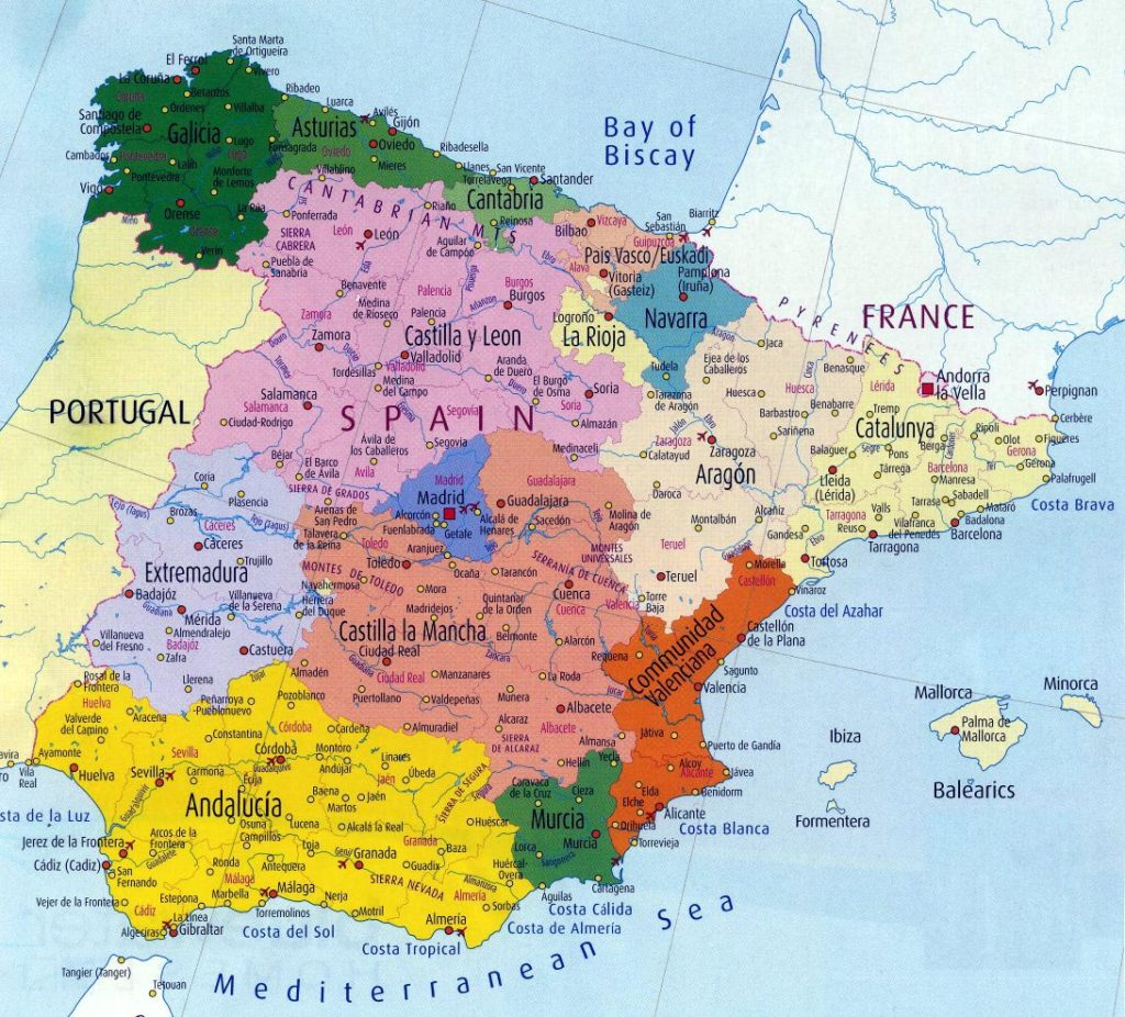 Printable Map of Spain & cities