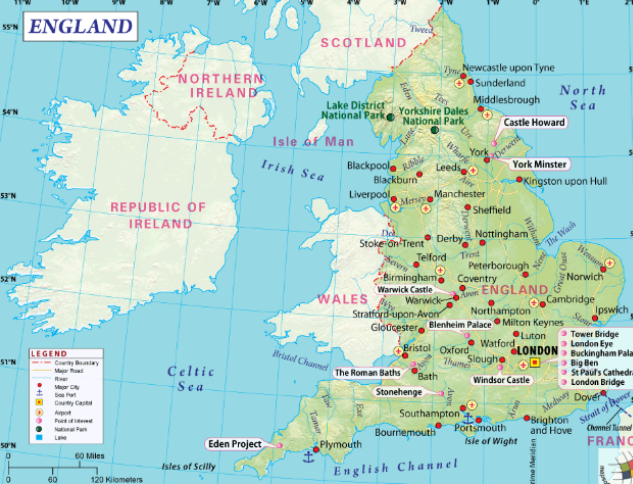 Printable Map of England & Cities