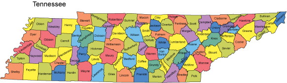 Printable Map of Tennessee Countries
