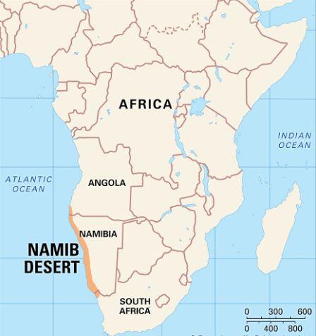 Printable Map of Namib Desert