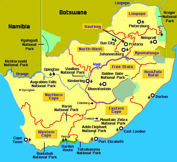 Printable Map of South Africa with Cities