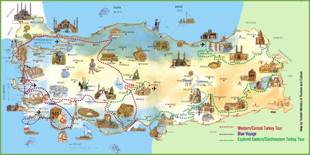 Tourist Map of Turkey
