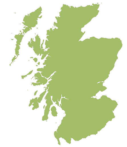 Blank Map of Scotland with Cities