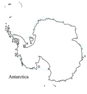 Outline Map of Antarctica with Countries